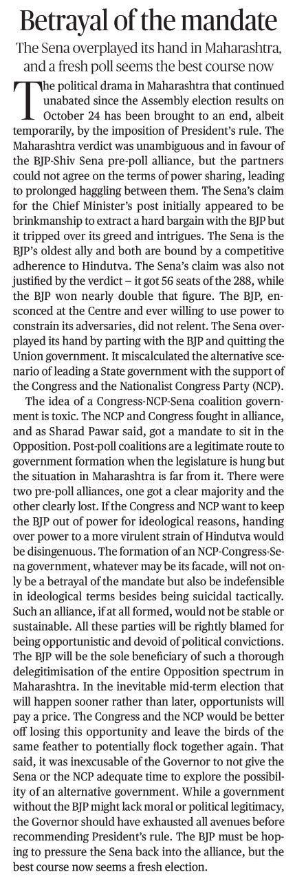 Betrayal Of the mandate - A 'The Hindu' Editorial