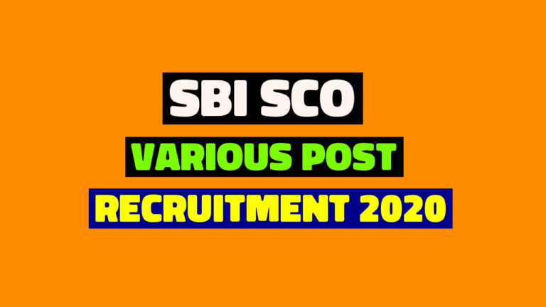 Apply For SBI SCO Various Post Recruitment 2020 Online